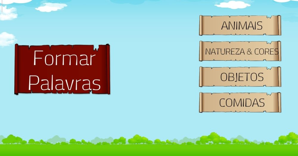 página inicial do aplicativo Formar Palavras